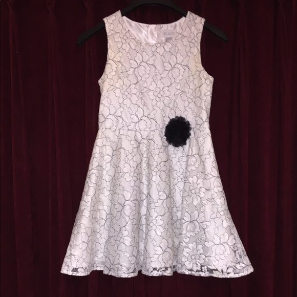The Children's place white and black lace dress